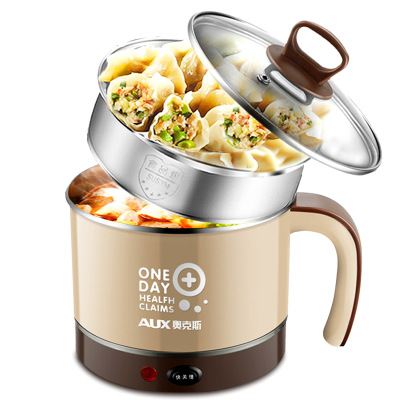 Mini Two Layer Electric Steamer Student Dormitory Noodles Hot Pot Skillet Stainless Steel Food Steamer