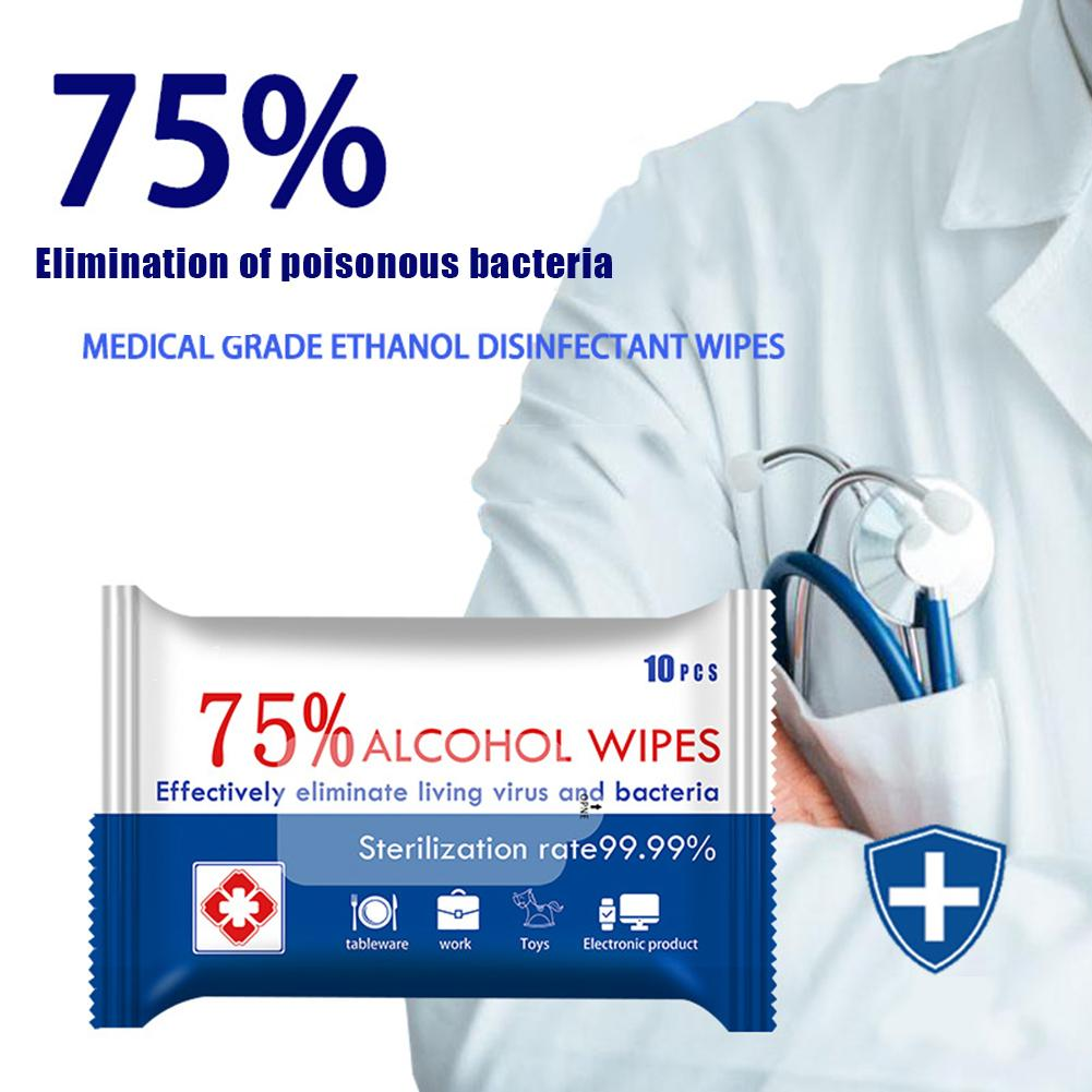 5 Packs Alcohol Wet Wipes Disposable Hand Skin Disinfection Cleansing Tissue носовые платочки In Stock Fast Shipments