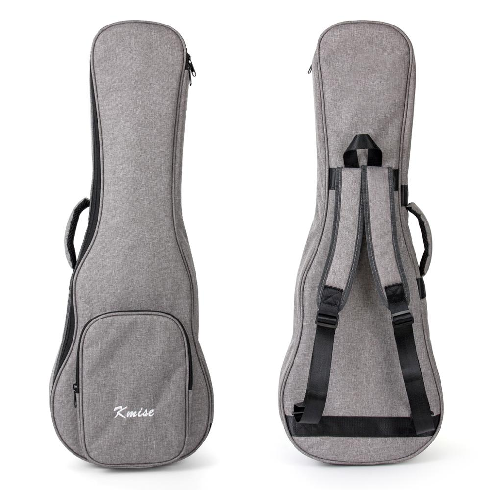 Kmise Ukulele Gig Bag Carry Case 32 Inch For Baritone Ukelele Bass Guitalele Canvas Light Gray