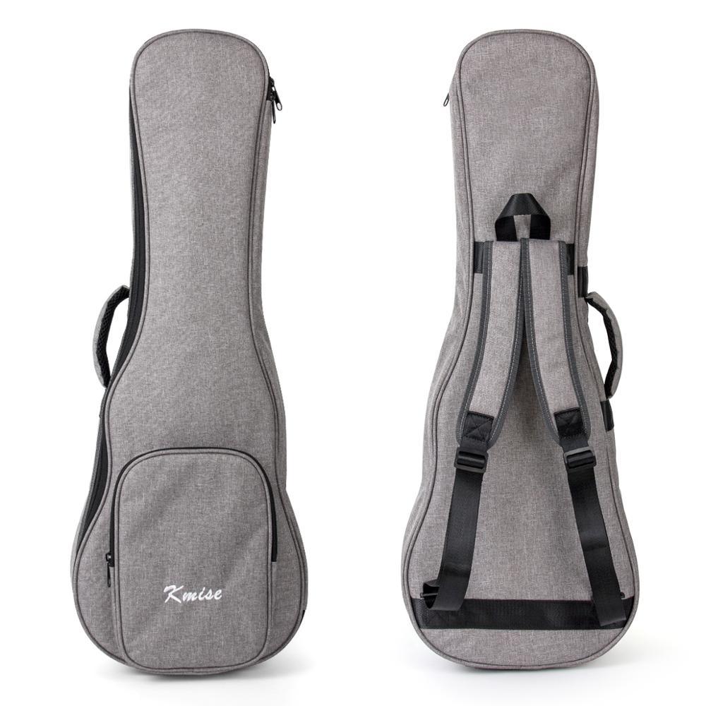 Kmise Ukulele Gig Bag Carry Case 32 Inch For Baritone Ukelele Bass Guitalele Canvas Light Gray