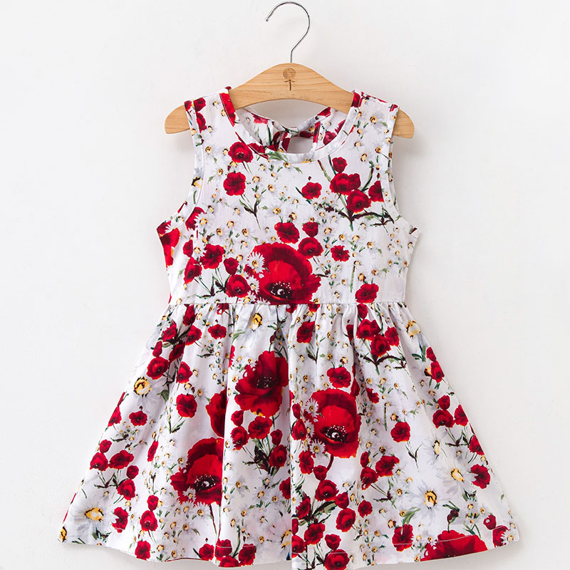 Kids Dresses for Girls Sleeveless Floral Print Dress New Year Princess Dress Children Clothes Baby Cotton Princess Dress Outfits 1
