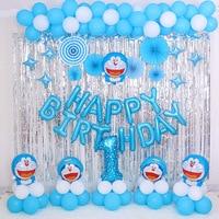 100pcs/Set Doraemon Foil Balloon Baby Full Moon Anniversary Children Birthday Party Home Decoration Baby Shower Helium Balloon