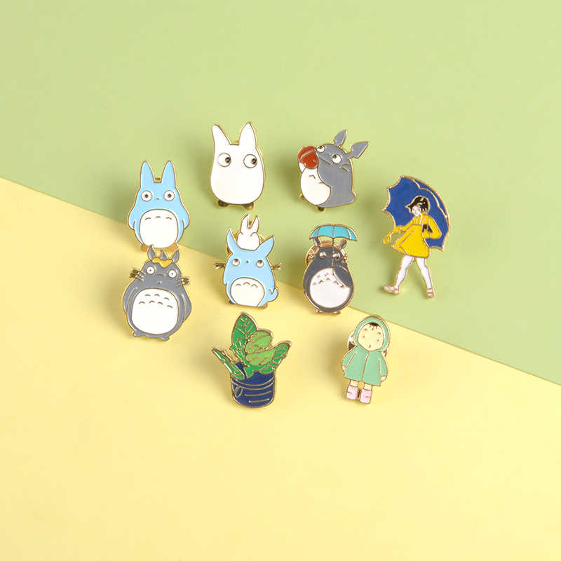 Cute Totoro Lapel Pins Little Girl Mei and Sister Cartoon Brooches Badges Backpack Enamel Pins Jewelry Gifts For Fans Friends