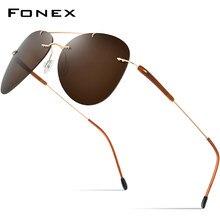 Fonex liga de titânio tr90 sem aro óculos de sol dos homens 2021 nova aviação ultraleve screwless polarizada óculos de sol para o homem 851