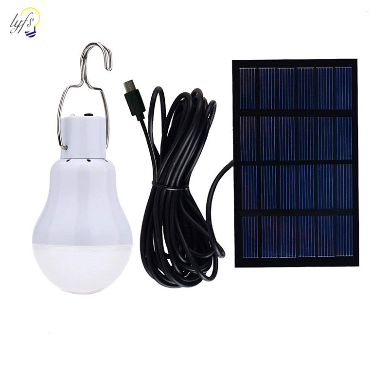 LED Solar Bulb With Hook Light Outdoor Waterproof Camping Solar Lamp Energy Saving Bulb Garden Courtyard Path Lighting