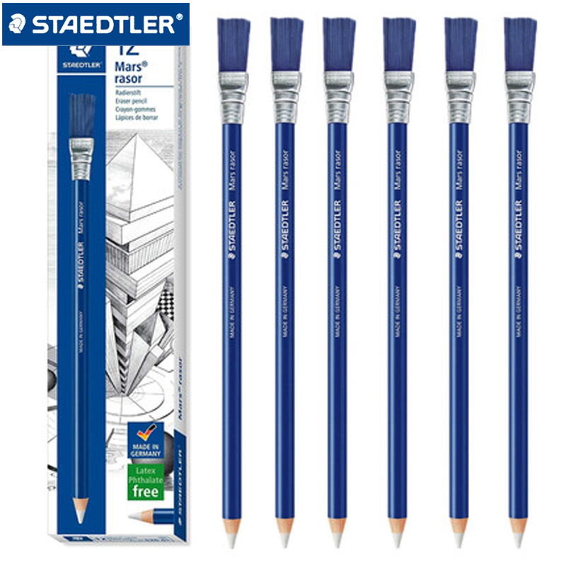 6/12 Pcs STAEDTLER 526 61 Pencil Style Eraser+Brush School Stationery Office Supplies Pencil Eraser Ballpoint Gel Pen Erasers