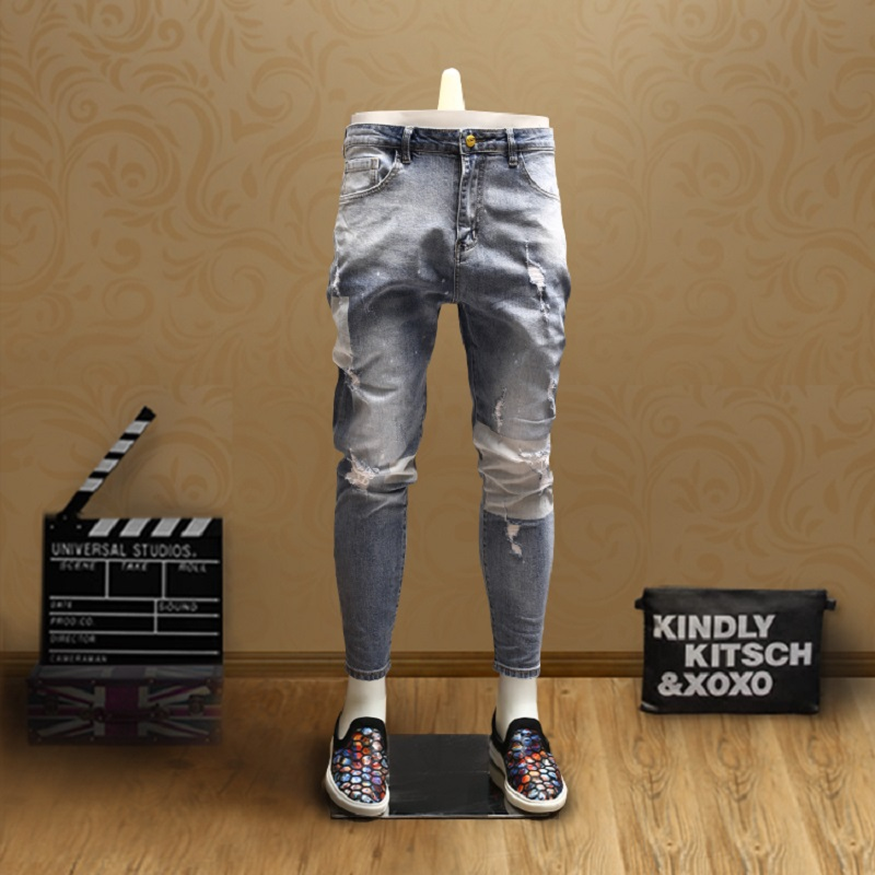 Mens Skinny Patchwork Ripped Jeans Streetwear Light Blue Ankle-Length Pants For Cowboys Men