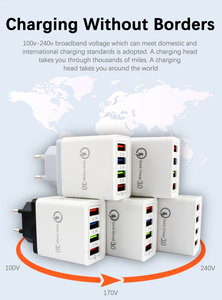 Универсальный адаптер переменного тока, 5 В, 3 А, 4 порта, USB зарядное устройство для мобильного телефона, AC/DC, USB, 5 В, адаптер питания, 220 В-5 В, ште...