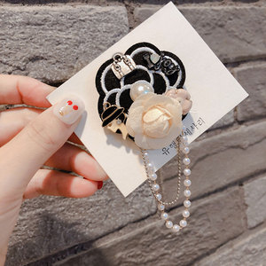 Original Design Pearl Camellia Flower Brooches Pearls Chain Tassel Rose Pin Brooch Buckle Badge Corsage