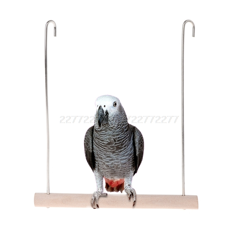 Natural Wooden Birds Perch Parrots Hanging Swing Cage Pendant Toys Stand Holder O30 19 dropship