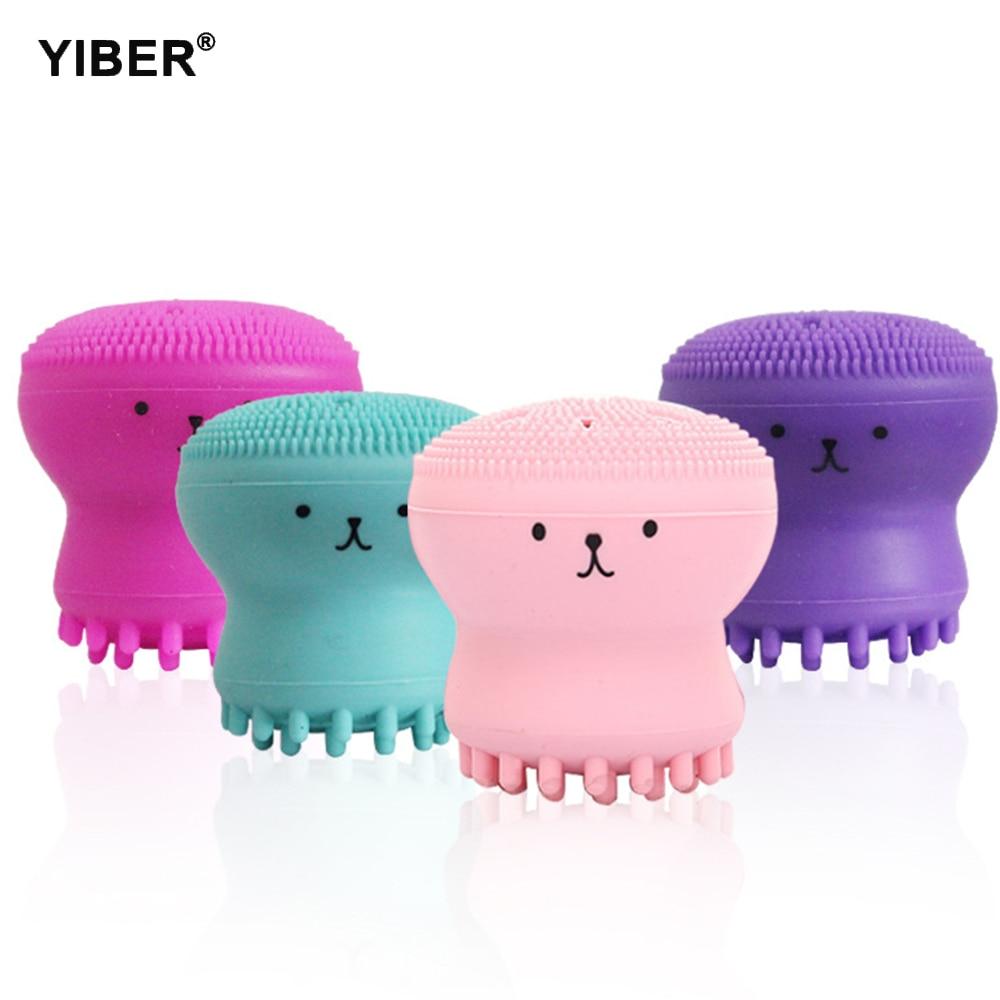 Silicone Facial Deep Cleaning Brush Pore Cleaner Exfoliator Face Scrub Washing Brush Octopus Shape Skin Care Massage Wash Tool