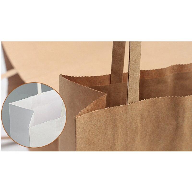 25 pièces papier Kraft épais emballage alimentaire sacs fête anniversaire mariage faveur couleur pure cadeau sac avec poignée accessoires de cuisine - 6
