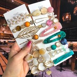 2020 Pearl Crystal Acrylic Hair Barrettes Set Retro Geometric Matte Star Hair Clips Pin Girl Flower Heart Smile Hair Accessories