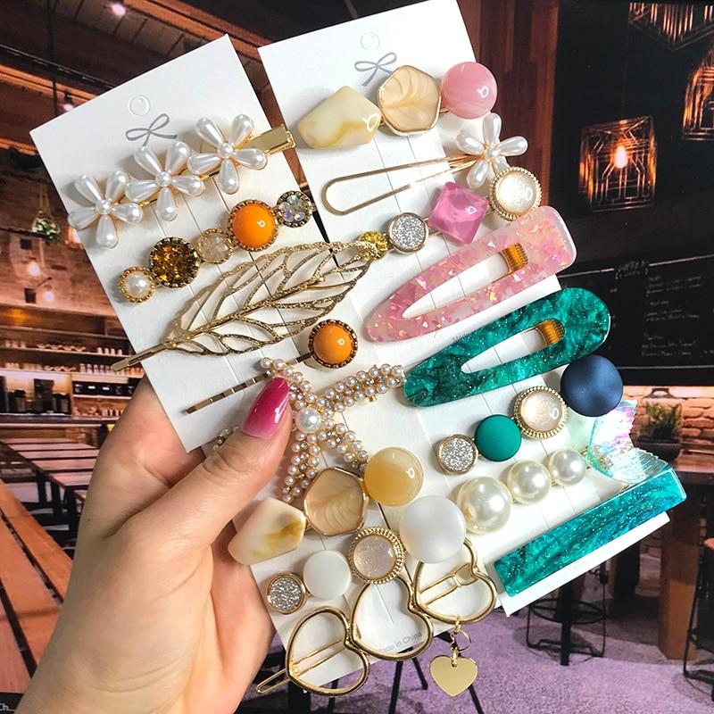 2020 набор акриловых заколок для волос с жемчужинами и кристаллами, Ретро Геометрические матовые заколки для волос со звездой, заколка для девочек, цветок, сердце, улыбка, аксессуары для волос