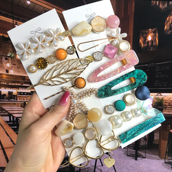 2021 Pearl Crystal Acrylic Hair Clips Set for Women Retro Geometric Barrettes Hairpin Girl Hair Accessories Fashion Jewelry