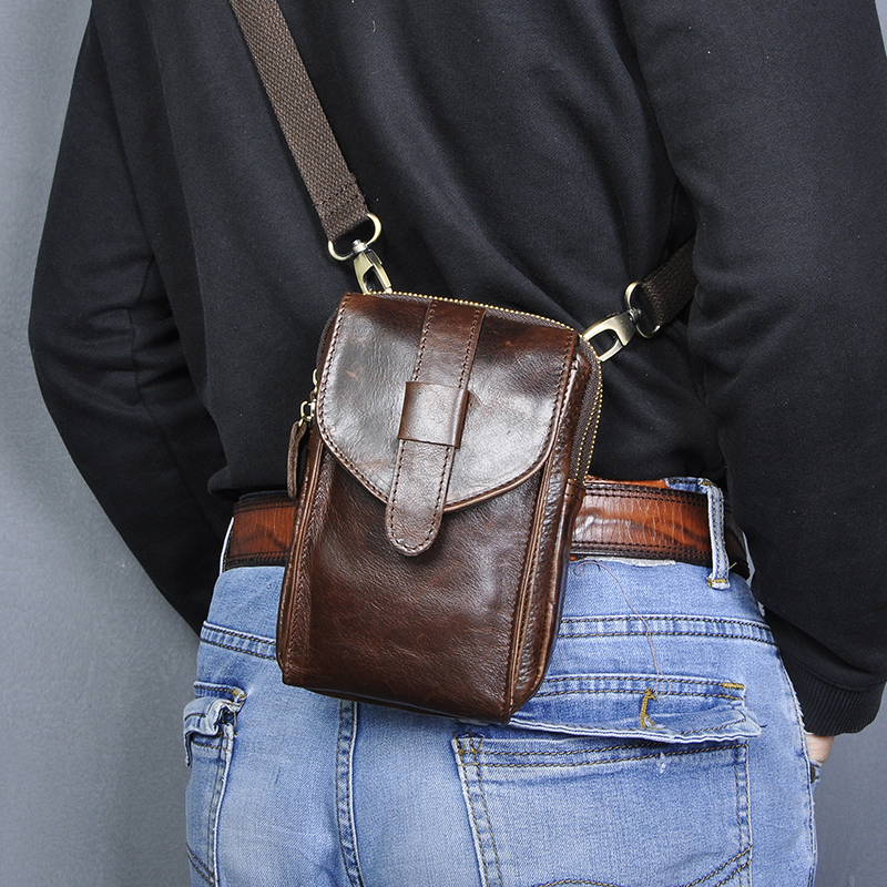 Crazy Horse Real Leather Men Design Coffee Small Crossbody Messenger Bag Travel Fanny Waist Belt Bag Pack 7