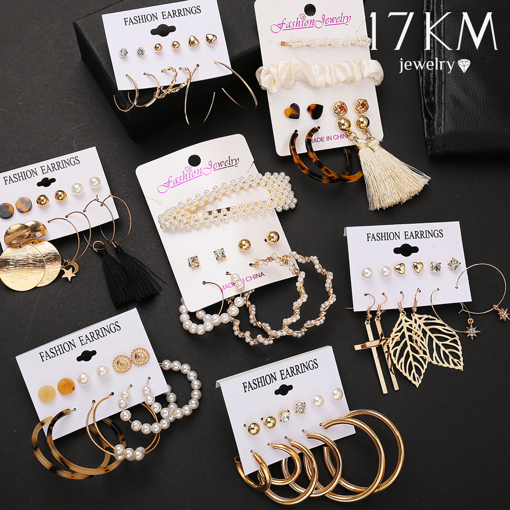 17KM Vintage Long Tassel Earrings 2020 For Women Gold Acrylic Pearl Earrings Set Geometric Earring Female Fashion Jewelry