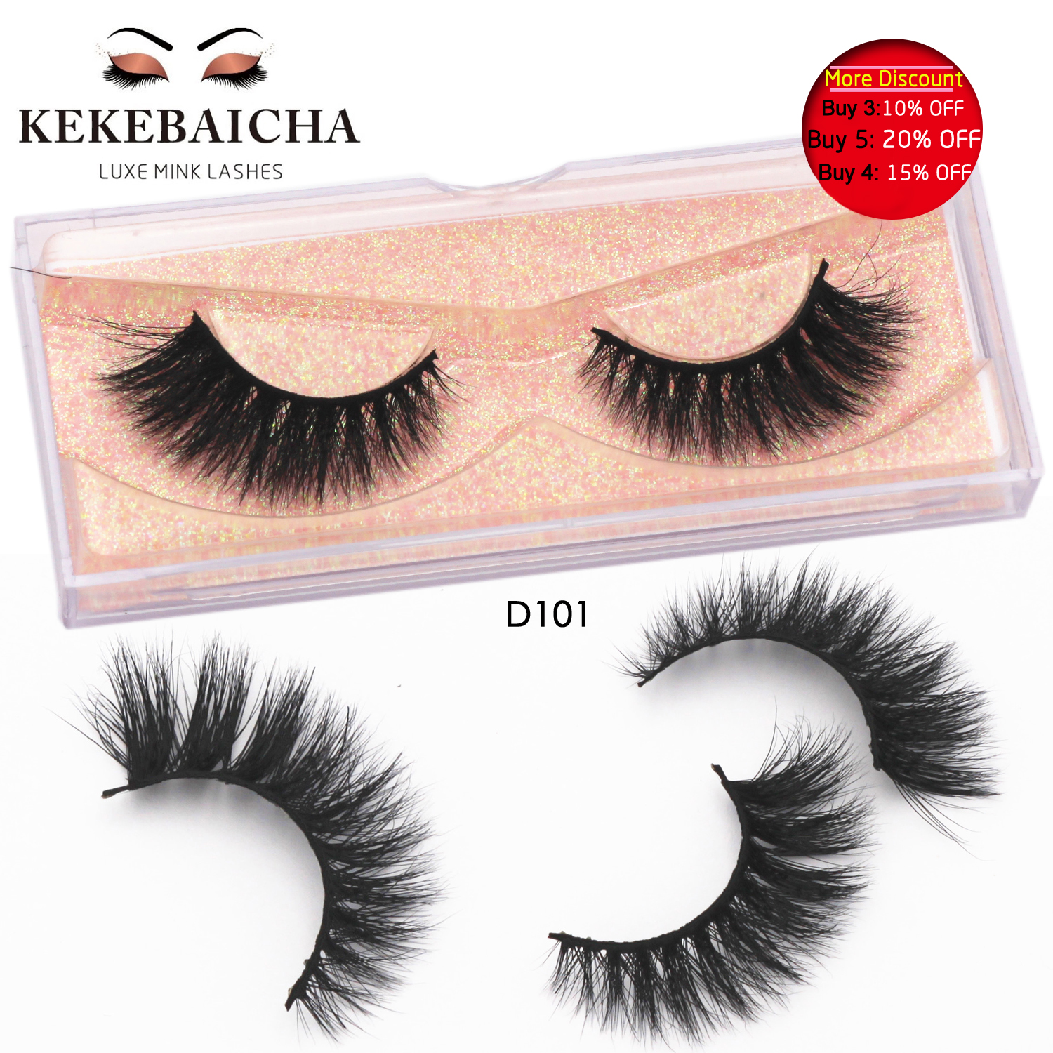 KEKEBAICHA 3D Mink Eyelashes Medium Volume False Eyelashes Handmade Reusable 3D Mink Lash Full Strip Lashes D101 Maquiagem Rzesy