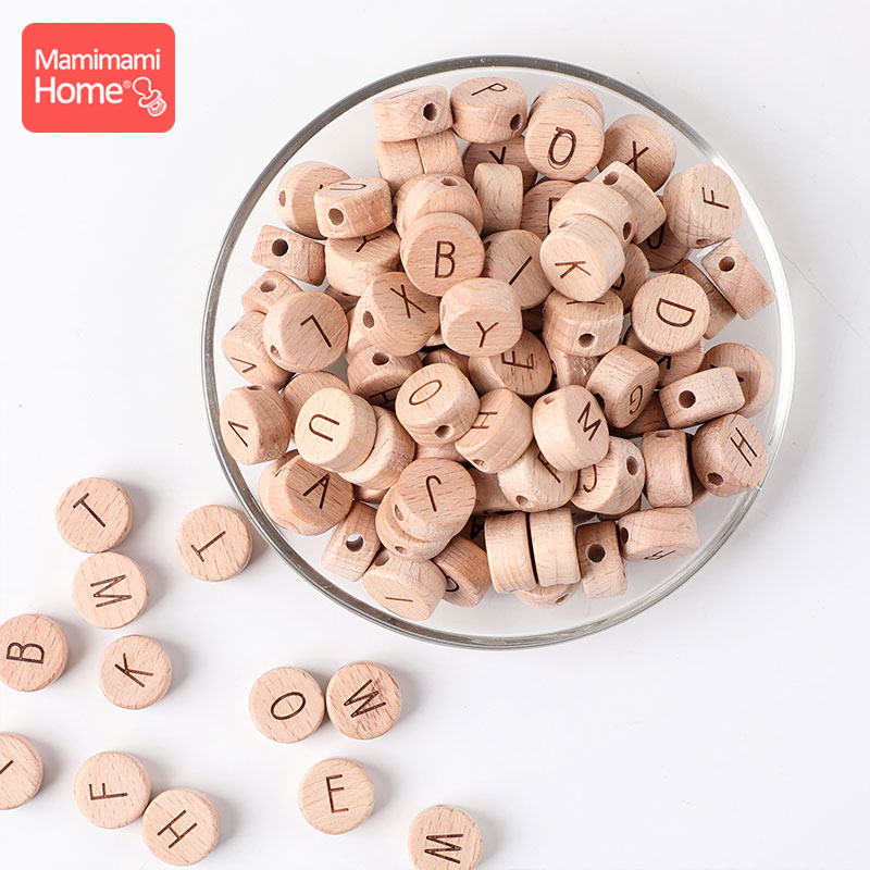 10pcs Wooden Letter Beads Square Round Letter Alphabet Beads For DIY Jewelry Making Bracelet Necklace Personalized Baby Teether