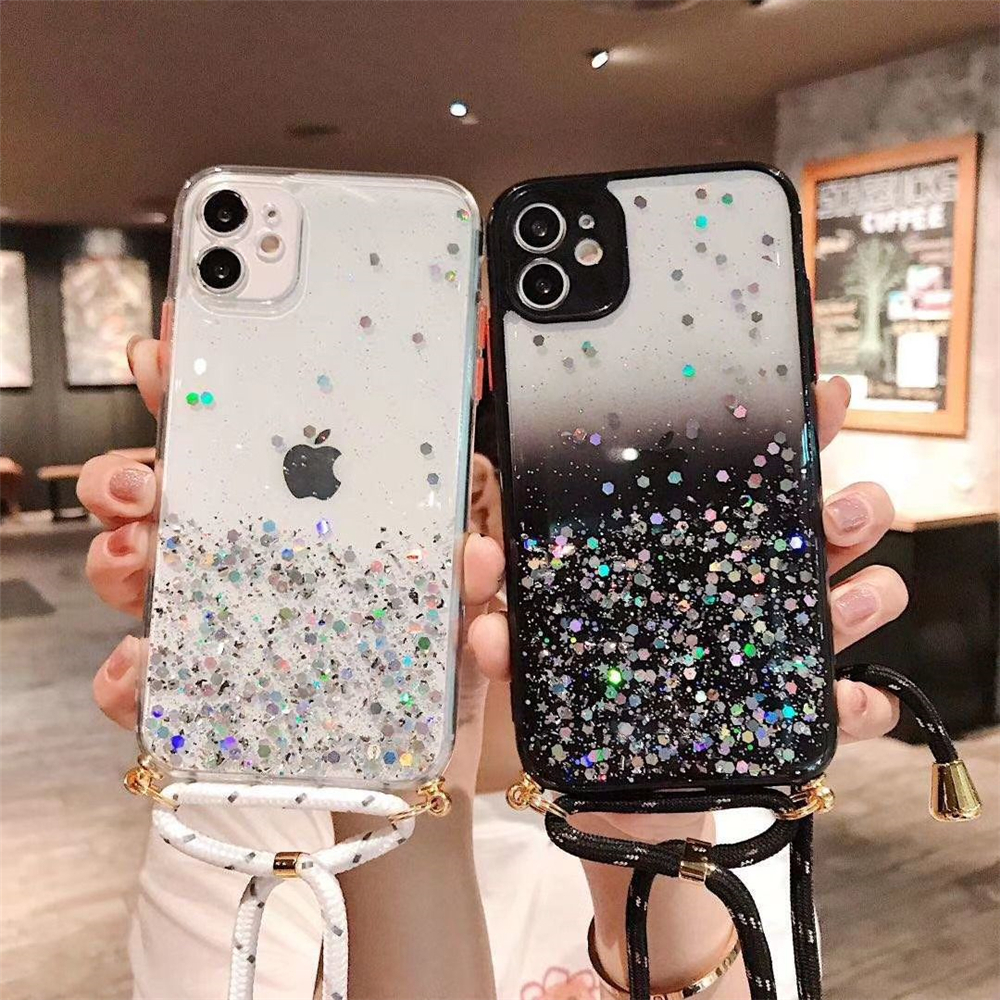 LOVECOM custodia per telefono trasparente con Glitter sfumati con corda appesa per iPhone 11 12 Pro Max XR X XS Max 7 8 Plus Cover per telefono ...