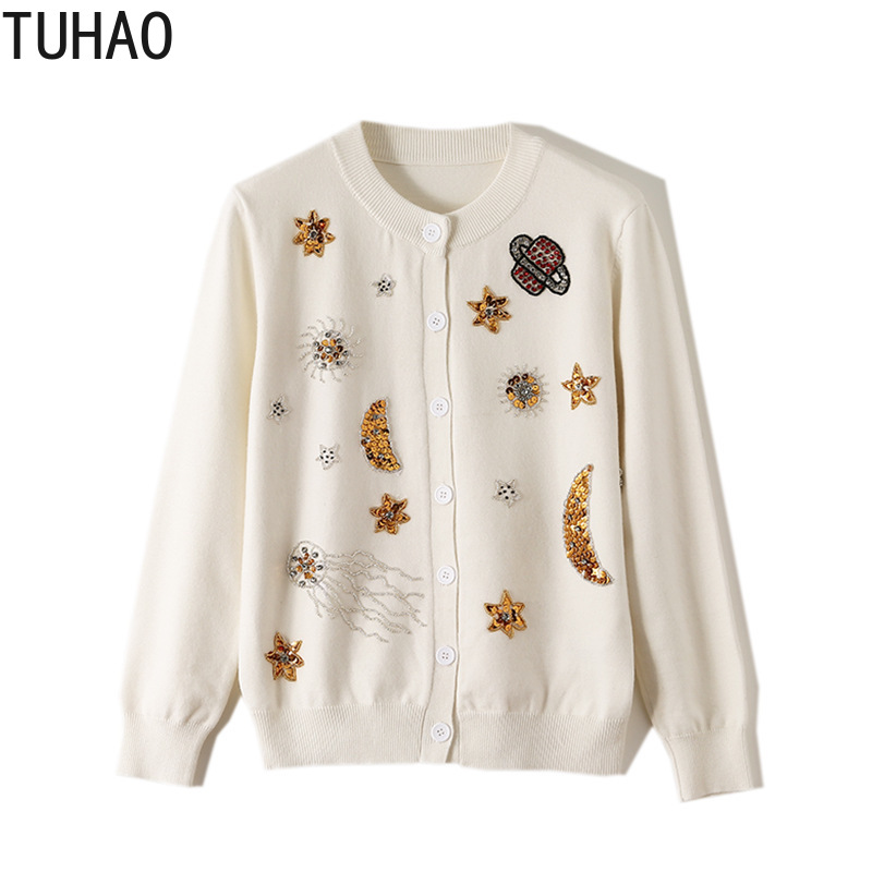 TUHAO Fall Knitted Sweater Woman's Cardigans Sequin Embroidery Cartoon STr Moon Beaded Diamond Sweaters Woman Clothes T2071