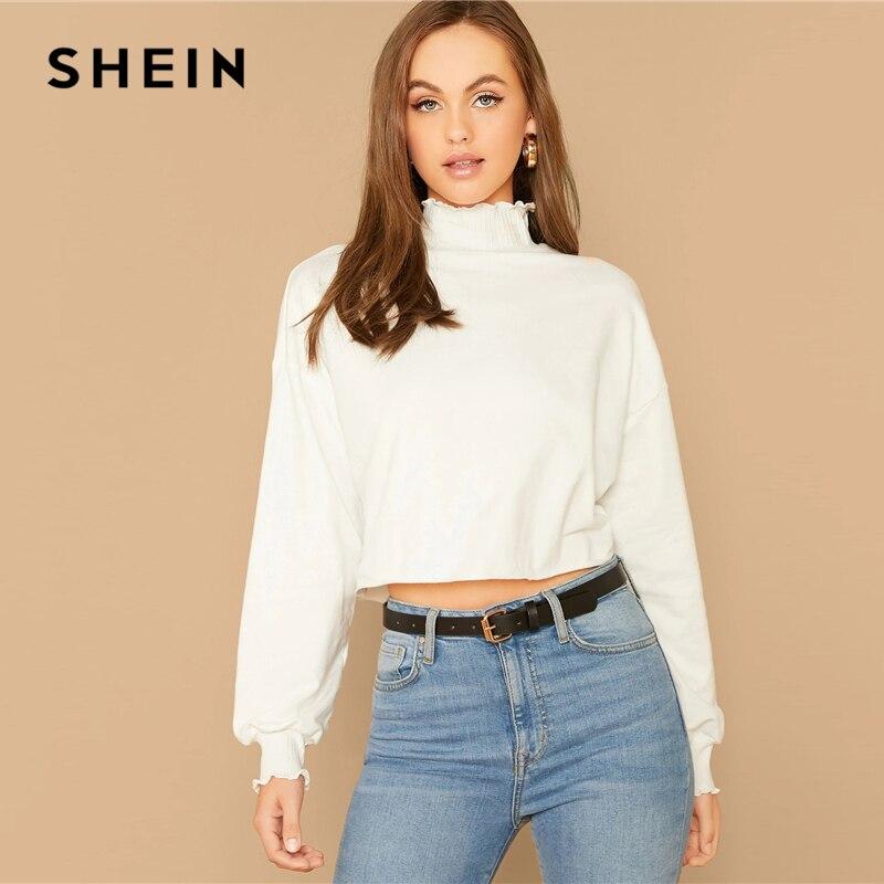 SHEIN White Lettuce Trim Lantern Sleeve Sweatshirt Women High Neck Pullover Autumn Casual Solid Cute Sweatshirts 1