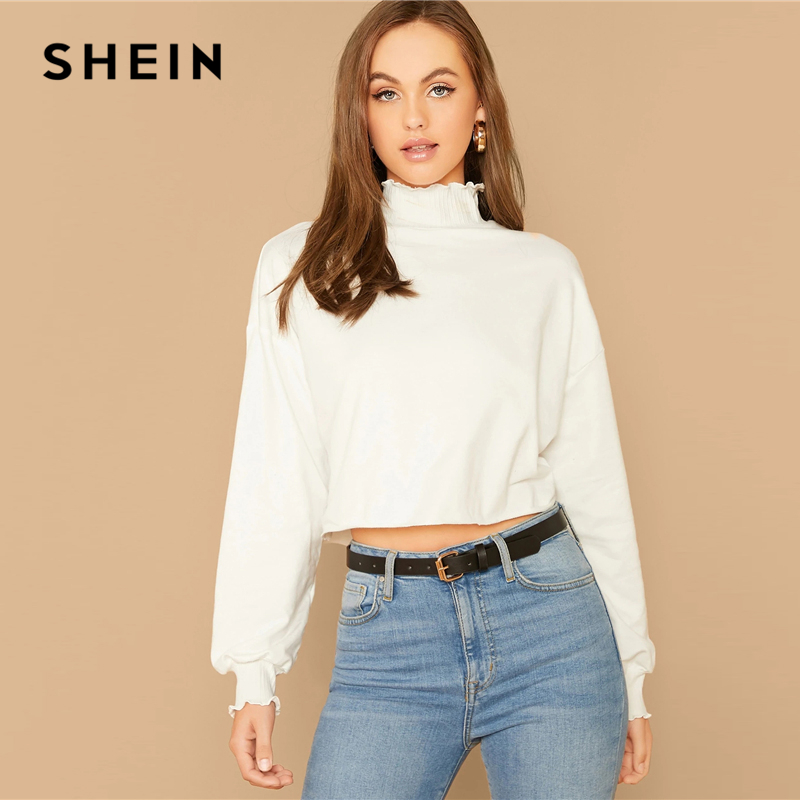 SHEIN White Lettuce Trim Lantern Sleeve Sweatshirt Women High Neck Pullover Autumn Casual Solid Cute Sweatshirts