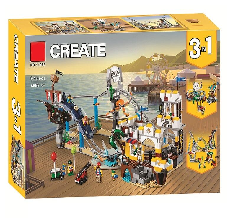 Novos criadores builerds montanha russa 3 em 1 compatível legoingly criador 31084 construção brinquedos educativos presentes de natal 24051
