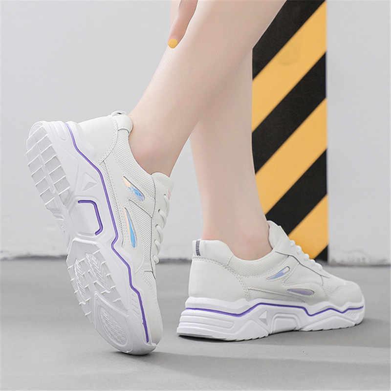 2019 新しい夏の女性ランニングシューズ快適な通気性メッシュ作業靴プラットフォーム女性フラットスニーカージョギングウォーキングシューズ