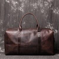 Leather Portable Travel Bag Large Capacity Duffel Handbag Shoulder Messenger Bag Solid Color Multi Function Zipper Handbag LD033