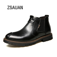 ZSAUAN Brand British Men Short Ankle Boot Formal Business Boots Chelsea Men High Quality Round Toe Leather Vintage Boots Combat цены онлайн