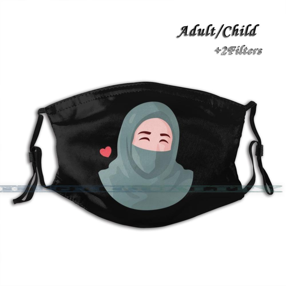 Hijab Black Headscarf Faith Chador Hijab Girl Queen Muslimah Niqāb Love Fashion Print Face Mask Reusable Washable Funny Pm2.5