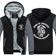 American TV show Sons of Anarchy Winter Jackets and Coats film hoodie Hooded Thick Zipper Men cardigan Sweatshirts cosplay(China)