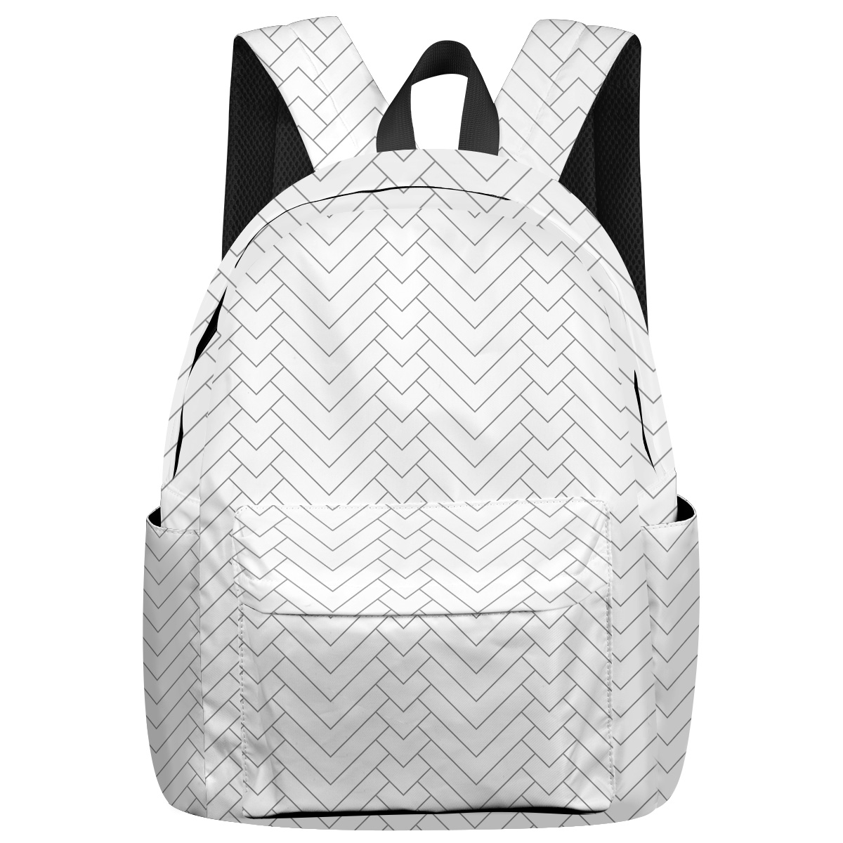 Geometric Pattern Natural Herringbone Bottle Side Pockets Stain Resistant Kids' Backpacks Laptop Backpack Everyday Using