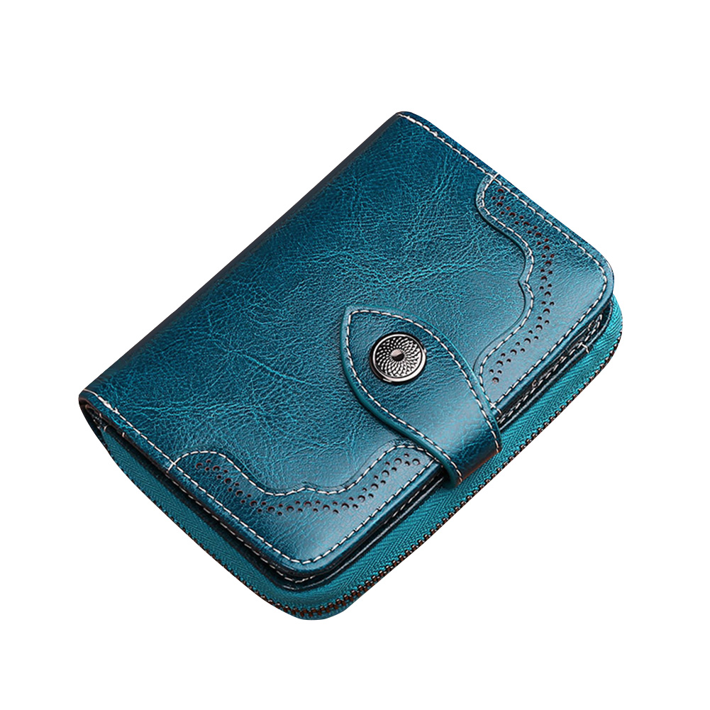 Women Purse Short Large Capacity Vintage Durable Split Leather Wallet Zipper And Hasp  Out Coin Pocket Elegant Credit Card