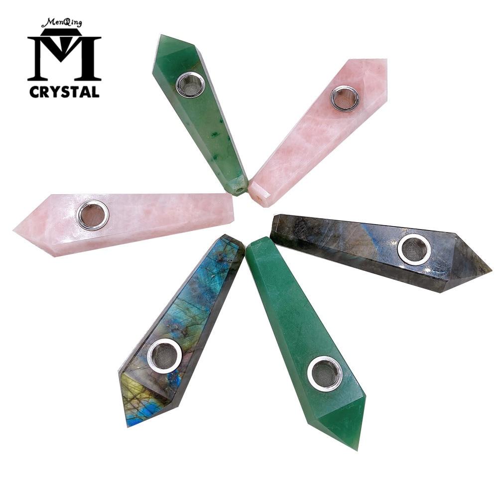 Natural Crystal Stone Smokey Pipe Healing Quartz Rose Crystal Point Wand Gemstone With 5pc Metal Filter + 1Brush