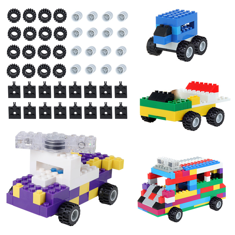 48pcs Compatible With LegoING Blocks Classic Car Wheels Axles Building Blocks Complement Set Bricks Accessories Educational Toys