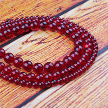 Crimson Glass Natural Stone Bead Round Loose Spaced Beads 15 Inch Strand 4/6/8/10/12mm For Jewelry Making DIY Bracelet