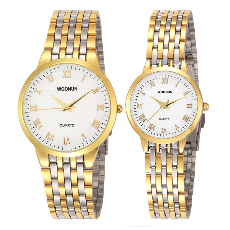 New Couple Watches Luxury Gold Watches Women Men Lovers Watch Stainless Steel Quartz Wristwatches Reloj Hombre Reloj Mujer