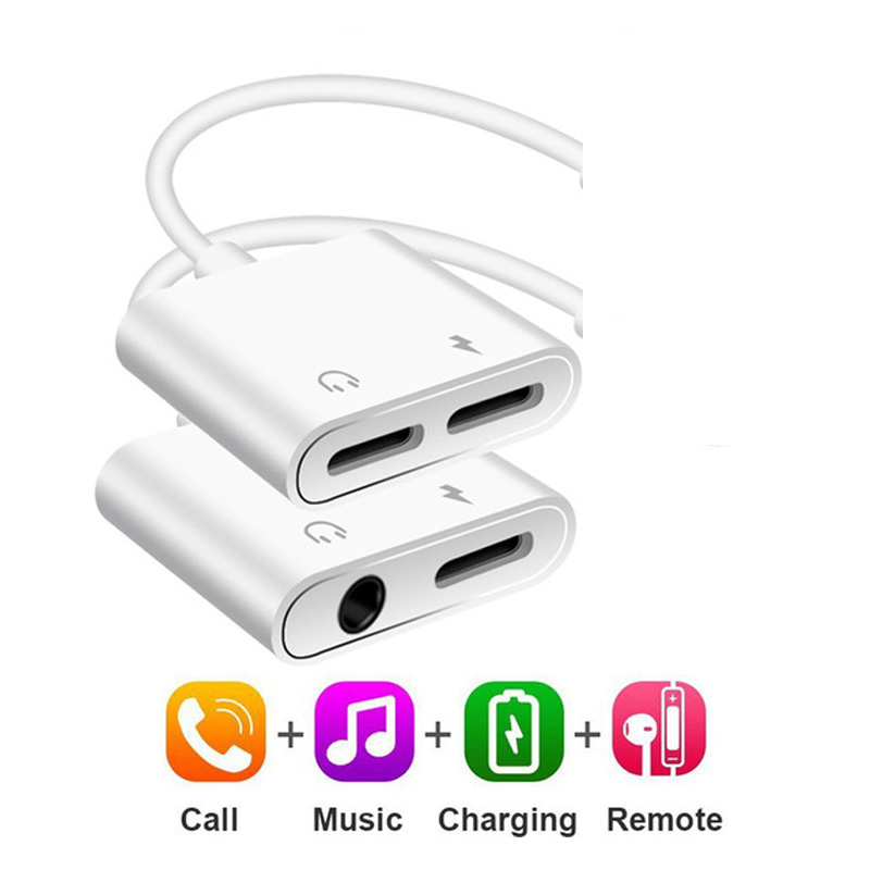 2 In 1 Audio Adapter Charging Earphone Cable For IPhone 11 X 7 8 Plus Aux Jack Headset For Lighting 3.5 Mm To Headphone Splitter