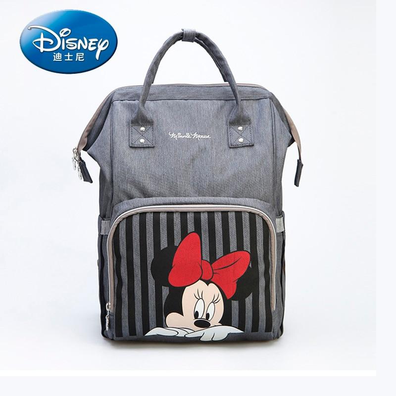 Sac à couches en tissu Disney Mickey Minnie | Sac à dos de poussette imperméable pour bébé USB, chauffe-biberon Mickey Minnie, sac de voyage pour maman