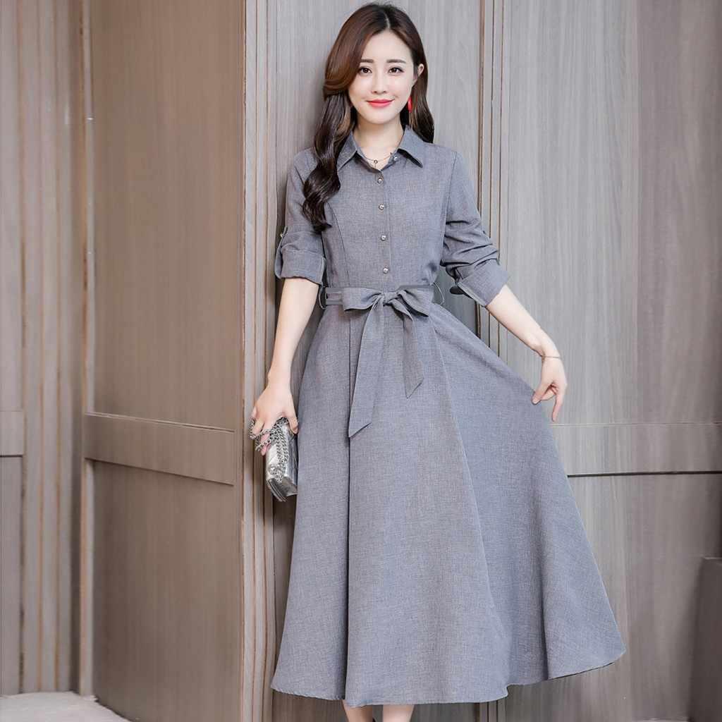 Formale Delle Donne del Vestito Elegante A Manica Lunga Solid Cintura a Vita Alta Lungo Mxi Vestito Da Boho Signore di Inverno di Autunno Pulsante Vestito Estivo abiti
