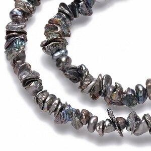 Image 2 - Boulettes de perles Keshi, nucléées, bobines de perles, DarkSlateGray environ 5 ~ 10x4 ~ 8mm, trou: 0.5mm, environ 169 pièces/brin, 14.96 pouces