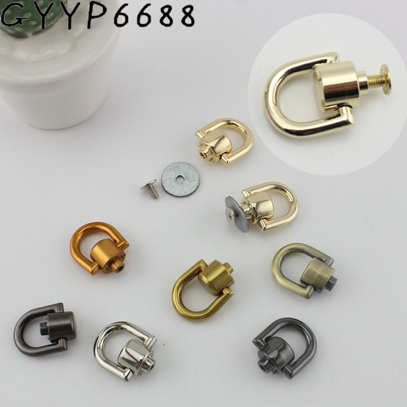 10-50pcs 8 Colors Bag Hanger DIYhardware Accessories On Both Sides Of The Screw D Ring D Buckle Bag The Package Chain Metal