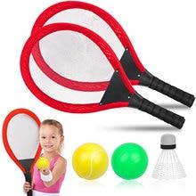 Kids Tennis Racket Set Beach Dual Tennis Racket Ball Set Outdoor Sports Mini Badminton Racket For Children Beach Rack