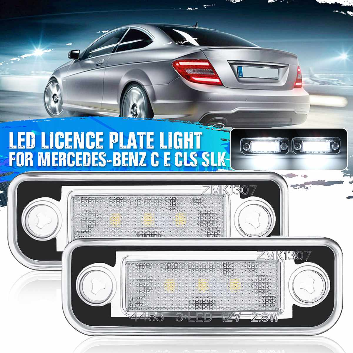 Car 3 LED 7000K License Plate Lights Number Lamps For Benz C E Class CLS SLK W203 W211 S211 2001 - 2006 Car Accessories image