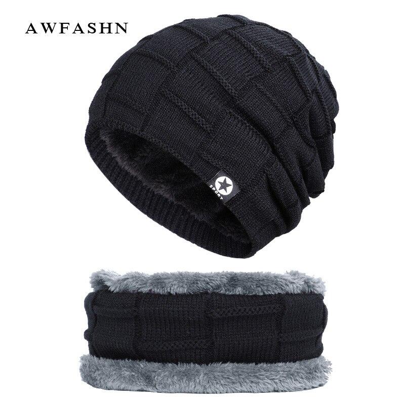 2019 New Brand Men's Winter Knit Hat Scarf 2Pcs Men / Women Thick Lining Plus Velvet Beanies Neck Warmer Male Soft Cap Balaclava