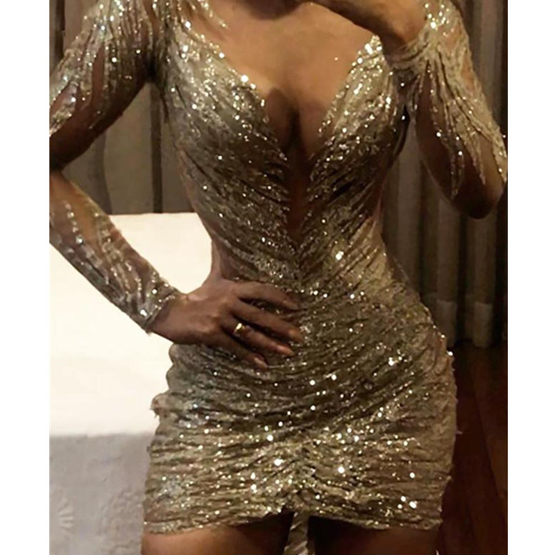 Women V Neck Long Sleeve Sexy Party Dress Ruched Design Sequin Bodycon Dress