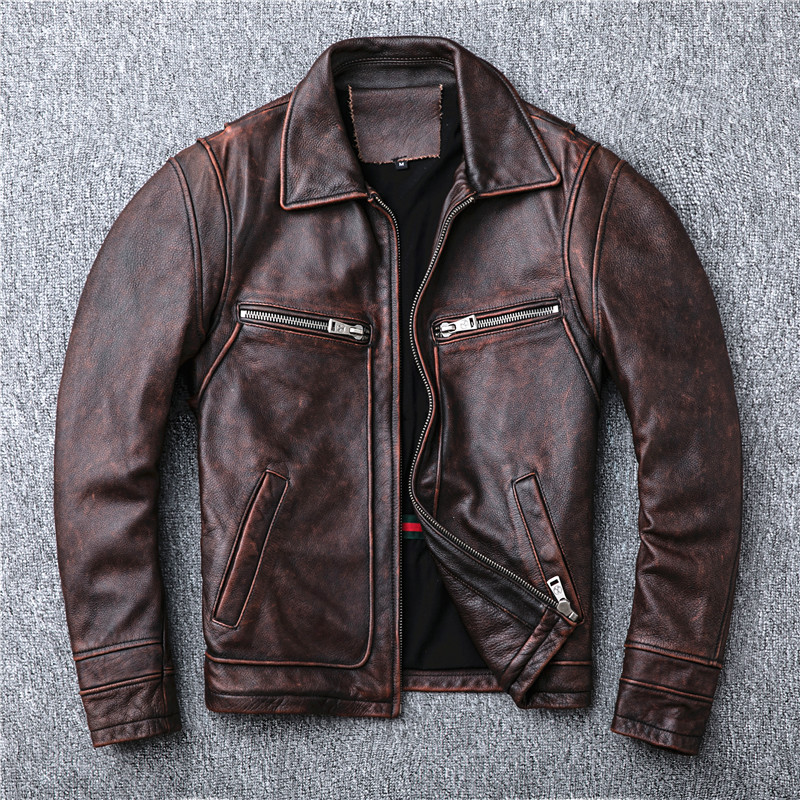 AMEKAJI red brown heavy do old locomotive head layer cowhide leather leather jacket lapels male restoring ancient ways