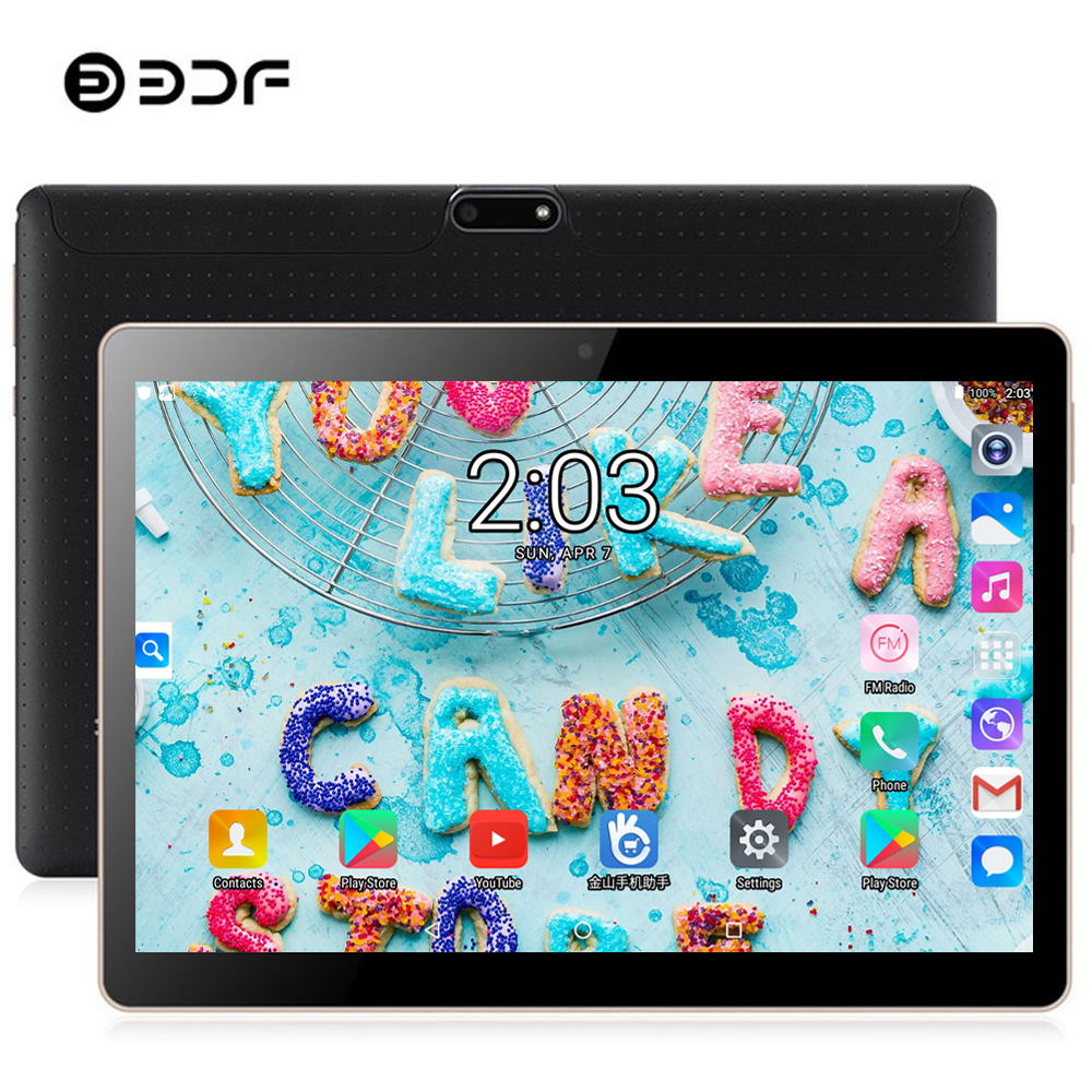 BDF 2019 Tablet 10 Inch Android 7.0 Tablet Pc 4GB/64GB IPS Tablet Android Bluetooth WiFi Octa Core Dual SIM Card Pc Tablet 10.1